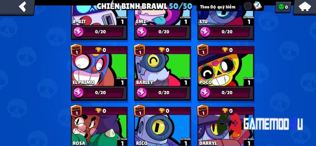 Rất nhiều nhân vật trong Brawl Stars Mod