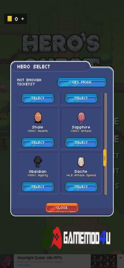 Nhân vật để chọn trong Hero's Quest Mod