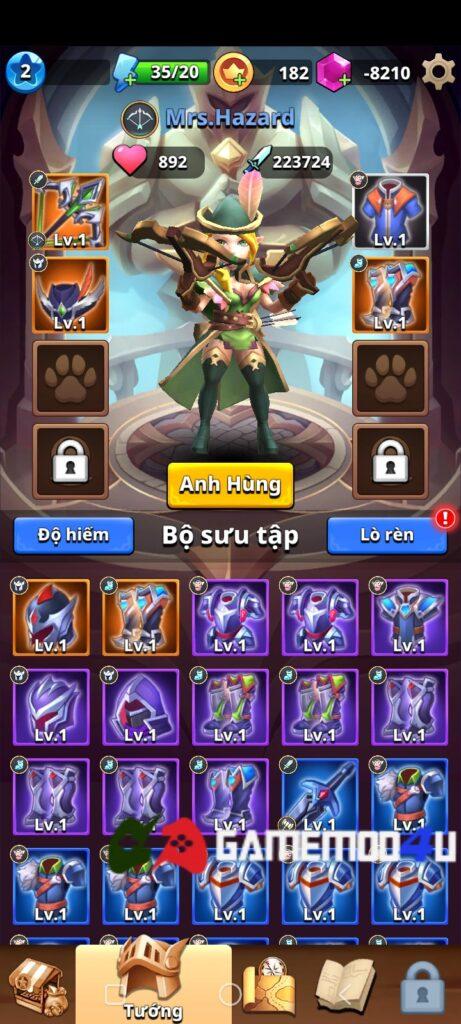 Nhân vật trong game Archer Hunter mod full tiền