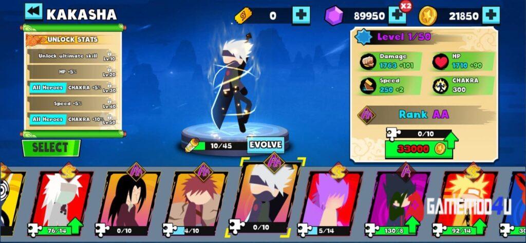Nhiều nhân vật để chơi trong Stickman Shinobi